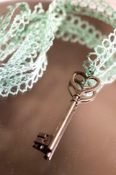 Mint Large Heart Skeleton Key