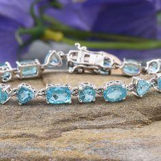 Madagascar Paraiba Apatite Platinum Over Sterling Silver Bracelet
