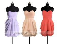 lavender/Blush/Coral sweetheart Chiffon Bridesmaid dresses/short prom dress party/formal dress homecoming/plus size