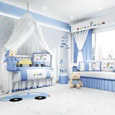 O Quarto de Bebê Ursinho Bebê azul é o cantinho que seu menino merece! Olha só quantos detalhes no capricho compõem essa decoração moderna para o quarto de bebê!