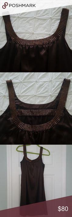 BCBGMaxAzria sheath dress Beautiful chocolate brown sheath dress with beading around entire neckline. Gorgeous back detail. Polyester with 4% spandex for super comfort. Never worn! BCBGMaxAzria Dresses Mini