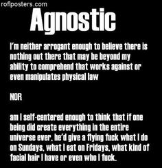 While many of my pins say atheism, it's the concepts I believe in. Agnosticism is my true alignment.