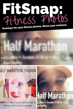 iOS app that adds an overlay about fitness. I use the half marathon one to share images throughout my training. It just makes it fun and interesting. You can download for free and you'll get some of the overlays. You can purchase more (one I used above is a paid one.)
