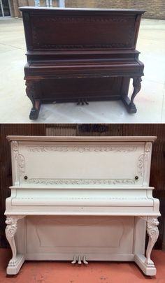 From freebie to fabulous! Chalk painted antique upright piano!
