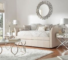 Stunning Round Decorative Wall Mirror Over Modern Upholstered Daybed With Trundle And Mirrored Living Room Tables. Modern Daybed With Trundle Designs Picture Gallery Daybed Couch, Daybed Room, Upholstered Daybed, Daybed With Trundle, Daybed Bedroom Ideas, Daybed Ideas, Basement Guest Rooms, Guest Room Office, Guest Bedrooms