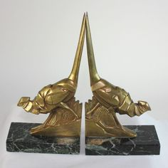 Art Deco Pheasant Bookends in Dore Bronze, French Sculptor Irenee Rochard