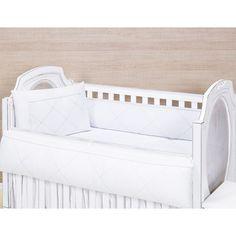 Kit Berço 08 Peças Americano C / Trocador Coleção Piquezinho Baby Branco / Branco - 100% Algodão