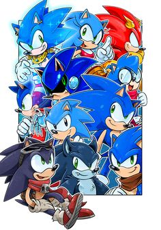 """falloutnewmobius:  It should of actually been """"Night of a 1000 Sonics"""" as a ref to that old Archie comic (not """"Night of a 100"""") but as you can see both names are a lie because only 11 are shown here. This is the uncropped image without the word bubble so you can see all the characters (and a larger image in general), since Werehog was pulling a Mike Wazowski earlier. The original image was drawn on a comic book page template, so it had a lot of bleed. I'm not sure which version I like…"""