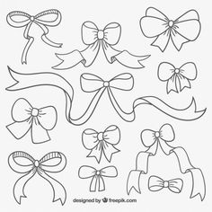 Cute hand drawn ribbons  Free Vector