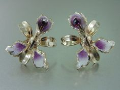 Sweet Orchid Enamel & Purple Rhinestone Earrings. Spring on Etsy, $12.00