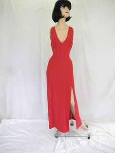 0b3fbd2811e Vintage Designer Krizia Red Evening Gown