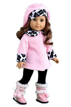 Elegance - Pink fleece coat, matching hat, black pants and pink boots - American Girl Doll Clothes  Price : $29.97 http://www.dreamworldcollections.com/Elegance-fleece-matching-American-Clothes/dp/B004OUIHKC