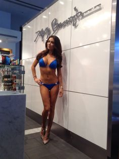 Arianne Celeste looking stunning in Dolcessa Crystallized Triangle Top and Bottom in Royal Blue