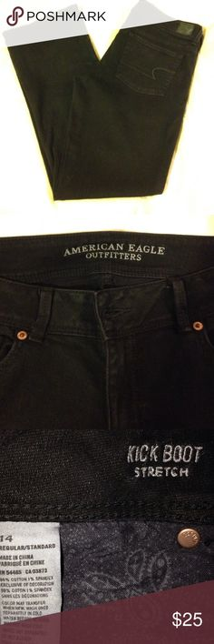American eagle kick boot stretch size 14 reg American eagle black kickboot jeans size 14 reg 99% cotton 1% spandex new condition American Eagle Outfitters Jeans Boot Cut