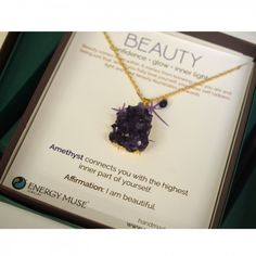 Made with beautiful Amethyst, the Beauty Necklace connects you with your highest inner self, so that your inner beauty radiates outwards. #Amethyst #Crystal #pendant