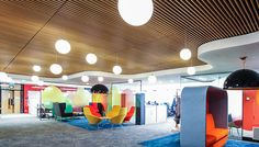 Enfield Civic Centre's bespoke #WoodCeiling. Designed and Manufactured by Hunter Douglas.