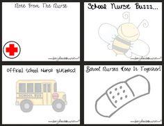 Printable School Nurse Note Cards