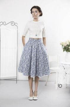 Special, porcelain skirt made of satin cotton. High quality material, quite stiff, soft in touch. Romantic and elegant with amazing pattern – a unique product by kasiamiciak via en.DaWanda.com