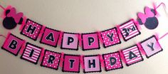 DIY Pink Minnie Mouse Birthday Banner hot by CelebrationBanner