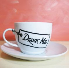 Alice in Wonderland drink me white teacup with saucer - cartoon mug, hand painted mug, coffee mug, tea party gift by CoralBel on Etsy My Coffee, Coffee Shop, Coffee Cups, Coffee Time, Teenager Party, Diy Becher, Chocolate Cafe, Hand Painted Mugs, Diy Mugs
