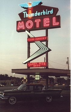 Thunderbird Motel, Route 66 - Joplin, Missouri ~ motel demolished in 2000, sign survives but is in a private collection