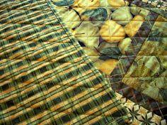Golden Pears Table Runner Leaves Green Gold by atthebrightspot