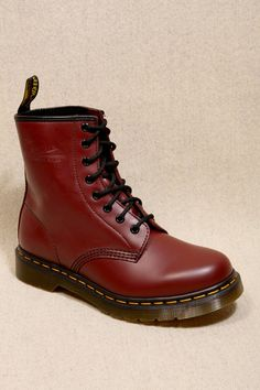 Martens Cherry Red 8 Eyelet Boots: Delicious Docs, I'll survive the winter! My Youth, Cherry Red, Red Shoes, Dress Me Up, Dr. Martens, Baby Items, Combat Boots, Urban Outfitters, Style Me
