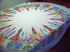 Exquisite Vintage Hand Embroidered Linen Tablecloth Cottage Garden Flowers in Antiques, Fabric/ Textiles, Embroidery | eBay