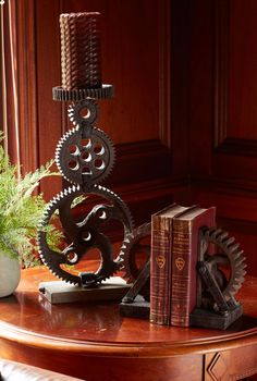 Vintage looking gears add industrial design, blending perfectly into modern, rustic and contemporary decor.