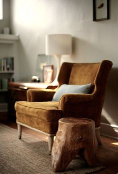 Pinned from Patterson Maker (brown velvet chair with gray-blue pillow = love this color palette)