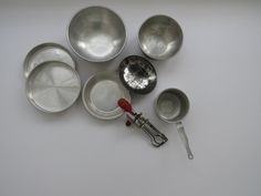 Vintage Childrens Cookware Set - 7 Piece Set - Betty Taplin Egg Beater - Aluminum Mixing Bowls Cake Pans Sauce Pan - 1950s Collectible Toys by shabbyshopgirls on Etsy
