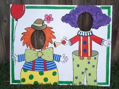 I made these child sized photo backgrounds for my brother's kid's circus themed party this weekend. I bought 36 x 40 foam board and painted ...
