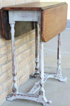 Primitive & Proper: A Chippy Grainsack Milk Paint Table with Wood Top