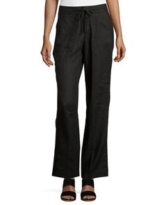 Linen Straight-Leg Drawstring Pants