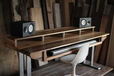 Wood Studio Desk for Composer / Producer / Engineer // Recording - Audio - Video - Editing & Office // 88key model in sun-tanned poplar