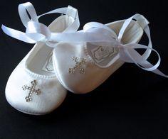 White satin Swarovski Christening Baptism by PrincessAndThePbaby, $21.95