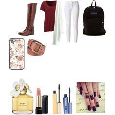 fall school by evalynntween on Polyvore featuring polyvore fashion style Frye JanSport Black Rivet Lancôme Stila Benefit Marc Jacobs