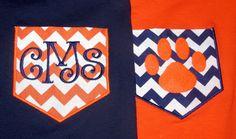 Auburn Chevron Pocket Tee Shirt- Paw Print or Initials- Any Team Colors