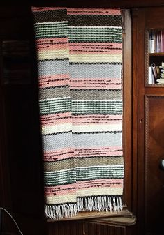 Vintage Swedish hand knotted, hand woven cotton scraps rag rug. Swedish antique rug, 1950.  Colors: pink, grey, green.  Fringes on two edgings.  Done