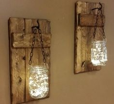 Mason jar sconces Candle Holdesr Rustic by TeesTransformations