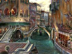 Robert Finale - Venetian Romance - oil on canvas