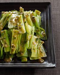 Steamed Leeks with Mustard-Shallot Vinaigrette Recipe on Food & Wine