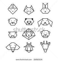 origami lion line style - Google Search