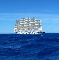 Royal Clipper with all sails set crossing the Atlantic ocean. Photo by Robert Black