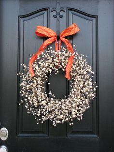 Berry Wreaths - Autumn Wreaths - Halloween Decor - Orange - Cream - Pumpkin -