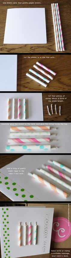 Paper straws birthday card project - super easy and super cute!