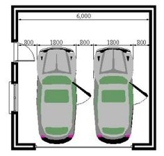 If you need to fit two cars into garage, here's minimum space you need. Modern Garage Doors, Garage Door Design, Garage Double, Two Car Garage, Parking Plan, Car Parking, Carport Garage, Garage Plans, Car Shed