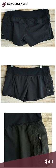 Lululemon Running Shorts Black Liner Pocket  Sz 10 Lululemon Womens Running/Yoga Shorts - Black with Drawstring Waist; Panty Liner; Side Zip Pocket.  Size 10. Gently used condition with the following flaws:  3 of the tacking stitches on the back flap have been removed, leaving small holes in its place. Please see photos for details.  Waist:  17.5 inches, laying flat, unstretched. Inseam:  4 inches. Rise: 11 inches. lululemon athletica Shorts