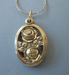 Vintage  Sterling Silver 3 Slide Rose Pendant by Beads4thesoul