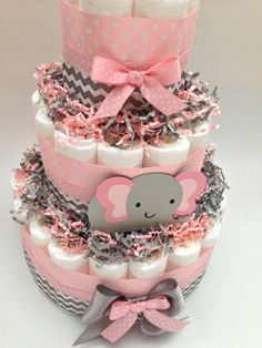 Pink and Gray Diaper Cake  Elephant Diaper CakeNew Baby